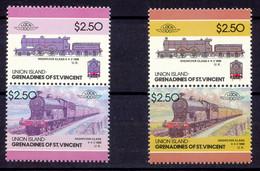 GRENADINES OF ST. VINCENT-UNION ISLAND 1986 Locomotives 2.50$ U/M MISSING YELLOW - St.Vincent & Grenadines