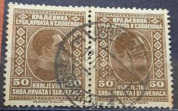 KING ALEXANDER-50 P-PAIR-POSTMARK DUBROVNIK-SHS-CROATIA- YUGOSLAVIA-1926 - Used Stamps