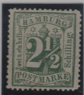 Allemagne Hambourg Michel 14 (Yvert 18a) (*) 2 ½ Vert-bleu - Hambourg