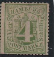 Allemagne Hambourg Michel 16a B (Yvert 16) (*) 4 Vert Et Vert-jaune - Hambourg