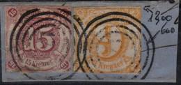 Allemagne Thurn Et Taxis Michel 23 & 24 (Yvert 39_40) O 15 Violet Et 9 Jaune Sur Fragment - Tour Et Taxis