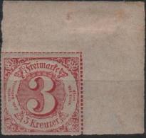 Allemagne Thurn Et Taxis Michel 42 (Yvert 50) ** 3 Rouge Coin De Feuille - Tour Et Taxis