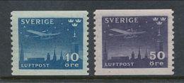 Sweden 1930 Facit # 231-232. Night Mail Aeroplane. MNH(**) - Nuovi