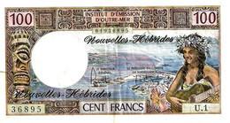 VANUATU NEW HEBRIDES 100 FRANCS WOMAN FRONT WOMAN SHIP BACK ND(1975) SIGN 2 P18c VF READ DESCRIPTION - Vanuatu