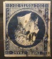 Empire No 14 A A Bleu Foncé Obl Pc 4082 Bureau Supplémentaire De COULOMBIERS, Vienne, Indice 19, Belle Frappe TB - 1853-1860 Napoleone III