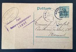 Postkaart 5c - AUVELAIS - PostUberwachungsstelle NAMUR - [OC1/25] Gen.reg.
