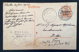 Postkaart 8c - HALLE - KESTER CASTRE Militarische Uberwachungsstelle Gepruft Brussel - [OC1/25] Gen.reg.