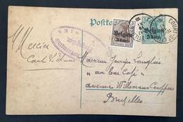 Postkaart Bijfrankering OC11 - COURT ST ETIENNE - Militärische Uberwachungsstelle Freigegeben OTTIGNIES - [OC1/25] Gen.reg.
