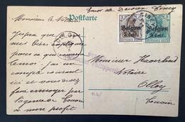 Postkaart Bijfrankering OC11 - CINEY - OLLOY - Gepruft Freigegeben PHILIPPEVILLE - [OC1/25] Gen.reg.