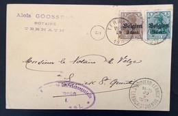 Postkaart Bijfrankering OC11 - TERNATH - ST QUINTENS LENNICK - Militärische Uberwachungsstelle Gepruft Brussel - [OC1/25] Gen.reg.