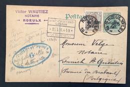 Postkaart Bijfrankering OC11 - ROEULX (LE) - ST KWINTENS LENNIK - Militärische Uberwachungsstelle 6 CHARLEROY - [OC1/25] Gen.reg.