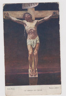 Ancienne Estampe LE CHRIST EN CROIX ,au Verso Citation Evangile Suivant St Mathieu, Deschiens Editeur - Religion & Esotérisme