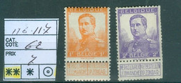 116-117 Xx  Côte 62€ - 1912 Pellens