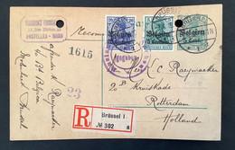 Postkaart RECOMMANDE Bijfrankering OC2+4 - BRUSSEL 1 - Freigegeben Auslan Aachen - [OC1/25] Gen.reg.