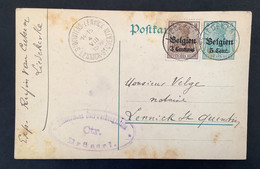 Postkaart Bijfrankering OC11 - LIEDEKERKE - ST QUINTENS LENNICK - Militärische Uberwachungsstelle Ctr Brussel - [OC1/25] Gen.reg.