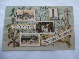 PARIS (75) : Bonne Année 1 Janvier - Circulé - Panoramic Views