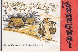 ALGERIE- ALGER- CARTE DOUBLE PLIANTE RESTAURANT LE SHANGHAI RUE MOGADOR -RARE - Tarjetas De Visita