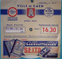 Disque De Contrôle De Stationnement Allumettes S E I T A Ville De Caen - Unclassified