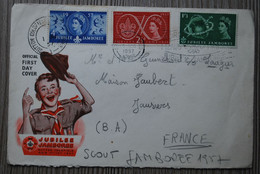 Gde Bretagne 1957 - SCOUTISME - Enveloppe 1er Jour - Timbres N°302, 303 & 304 : JUBILEE JAMBOREE - Covers & Documents