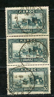 MAROC (RF) - VUE -   N° Yt 139 Obli. BANDE DE 3 - Used Stamps
