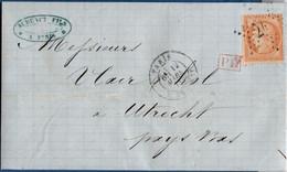 France 1873, Couverture De Paris Rue De Cheny`24 (étoile) Au Pays Bas -  Utrecht Timbrée 40 C Siège 2102.2604 - 1870 Siege Of Paris