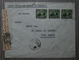 EGYPTE - Lettre Pour Nice (France) Avec Bande CENSURE En Arabe - Affranchie Par 3 Timbres Roi FAROUK Vert à 17 Mills - Cartas
