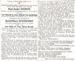 Oorlog 40 45 - Luchtaanval  STORME Réné ° Oostkerke 1909 En STANDAERT Rachel ° Oostkerke 1919 - Beiden + Oostkerke 1944 - Religion & Esotérisme