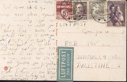 YT Danmark 282 289 254 277 CAD Havbro 16 10 46 écrite En Hébreu Judaica Juif Pr Jérusalem Palestine Par Avion CP Haubro - Briefe U. Dokumente