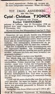 Oorlog 40 45 -BOM -  T'JONCK Cyriel  ° Leffing 1908 - + Wilskerke 1941 - Religion & Esotérisme