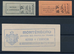 DX-655: FRANCE: Lot Avec MONTENEGRO N°1*-2**-3** (plis) - Wars