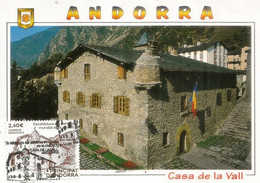 UNESCO.ANDORRA- Casa De La Vall. 2020. Carte-maximum (Haute Faciale) Deux Photos. - Cartas