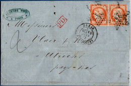 France 1873, Couverture De Paris Rue D'Enghien 4 (étoile) Au Pays Bas -  Utrecht Timbrée 40 C Siège Paire 2102.2606 - 1870 Siege Of Paris