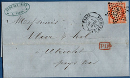 France 1873, Couverture De Paris Rue D'Enghien 4 (étoile) Au Pays Bas -  Utrecht Timbrée 40 C Siège 2102.2603 - 1870 Siege Of Paris