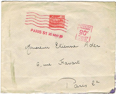412 MERCURE SUR LETTRE SUR-AFFRANCHIE AVEC EMA PARIS 51 - 1921-1960: Moderne