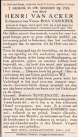 Oorlog 40 45 - Kamp - VAN ACKER Henri ° Brugge 1907  + Munthaussen (D) 1945 - Religion & Esotérisme