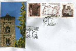 UNESCO.ANDORRA-FRANCIA-ESPAÑA Castillo De Foix, Catedral Seo Urgell, Casa De La Vall.  FDC / SPD. AND.ESP. - Cartas