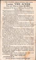Oorlog 40/45 Laffelijk Neergeschoten - VAN ACKER Lucien  ° Brugge 1921  - + Beignon (Fr) Morbiban Bretanje 1940 - Religion & Esotérisme