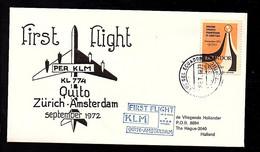 1972 1st Flight Ecuador > Amsterdam (FI-41) - Briefe U. Dokumente