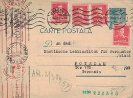Ganzsache Brasov 13.3.1942 > Rustinsche Lehrinstitut Für Fernunterricht Potsdam - Censura Externa - OKW Geprüft - 2. Weltkrieg (Briefe)