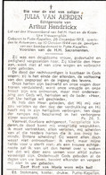 Oolog 40 45 - Bom - VAN AERDEN Julia  ° Putte Kappellen 1913  + Antwerpen 1944 - Religion & Esotérisme