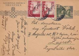 Croatia NDH Stationery Osijek 1943 Sent To Zagreb , Feldpost - Croatia