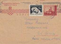 Croatia NDH Stationery Zgareb 1944 Sent To Velika Gorica , Censored Censura Zagreb , Feldpost - Croatia