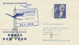 BERLIN 1956 Erstflug Deutsche Lufthansa M. Superconstellation HAMBURG – NEW YORK - Cartas