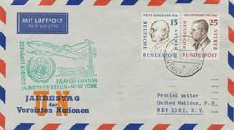 BERLIN 1957 Sonderflug Zum Jahrestag Der Vereinte Nationen M PAA BERLIN-NEW YORK - Cartas