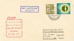 BERLIN 1957, 1. Direktflug Berlin - Tokyo über Den Nordpol, SAS Sonderflug, ABART - Cartas