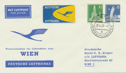 BERLIN 1957, Aufnahme Des Direkten Flugverkehrs Mit Wien Mit Convair CV-440 - Cartas