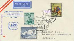 """BERLIN 1958 SAS-Eröffnungsflug """"WIEN – DJAKARTA, Indonesien"""" Via ATHEN–KARACHI - Cartas"""