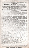 Oorlog 40 45 - Bom - VANDAELE Bertha ° Moorsele 1907 En Kindje DEMYTTENAERE Rosa  4 Maand - + Moorsele 1943 - Religion & Esotérisme