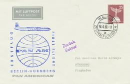 """BERLIN 1958, Erstflug PAA (Pan American Airways) """"BERLIN – NÜRNBERG"""" Privat-Lupo - Cartas"""
