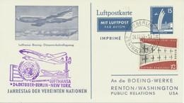 BERLIN 1959 Düsenverkehr-Vorläufer Werbe-GA An Die Boeing-Werke BERLIN-NEW YORK - Cartas